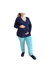 Pijama Jade Plus Size Longo Maternidade E Amamentação Linda Gestante