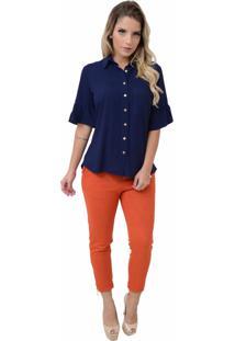 Camisa Mamorena Manga Curta Com Bolso Azul