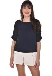 Blusa Manga Longa Banca Fashion Casual Chique Azul Marinho