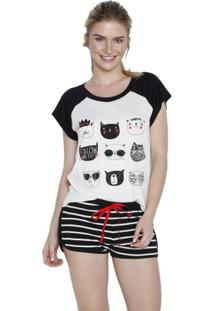 Short Doll Inspirate Cats Feminino - Feminino-Off White+Preto
