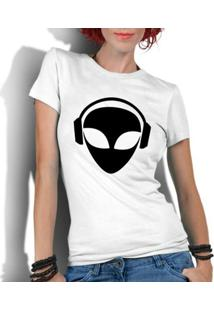 Camiseta Criativa Urbana Engraçadas Et Alien Dj - Feminino-Branco