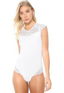 Body Calvin Klein Underwear Recortes Renda Branco