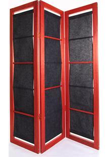 Biombo De Madeira Em Tecido Dominoes Stain Vermelho T02- 150X3,5X179 Cm