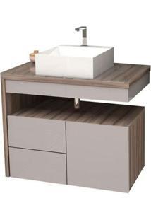 Gabinete Para Banheiro 70Cm Mdf Aimoré Nude Com Tamarindo Sem Cuba 70X57,8X43,5Cm - Cozimax - Cozimax