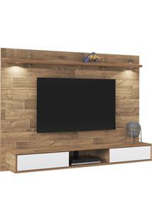 Painel Platinum Rústico Para Tv Até 47 Polegadas 2 Portas Com Espelho E Luzes Led -Artely