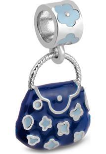 Pingente Life Bolsa Flores Azul Marinho E Azul Bebãª