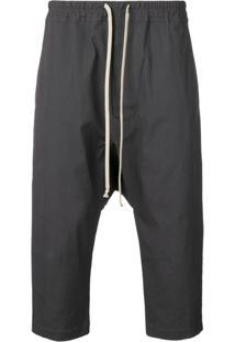 Rick Owens Drawstring Drop Crotch Trousers - Cinza