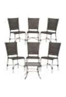 Jogo Cadeiras 6Un E Mesa De Centro Romenia Para Edicula Jardim Area Varanda Descanso - Pedra Ferro