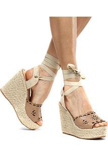 Sandália Plataforma Couro Shoestock Flor Tiras Feminina - Feminino-Nude