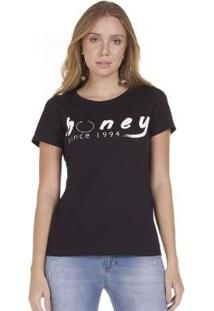 Camiseta Areazul Honey Feminina - Feminino-Preto