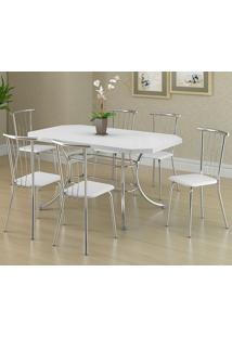 Mesa 1507 Branca Cromada Com 6 Cadeiras 154 Branca Carraro