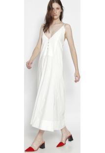 Vestido Longo Com Pregas - Brancoosklen