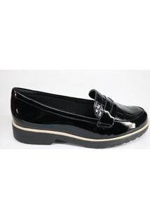 Sapato Oxford Comfortflex Salto Baixo Feminino - Feminino-Preto