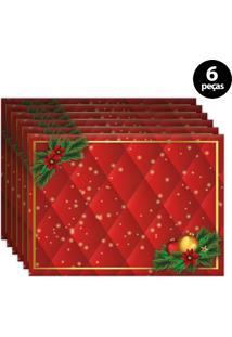 Jogo Americano Mdecore Natal 40X28Cm Vermelho 6Pçs