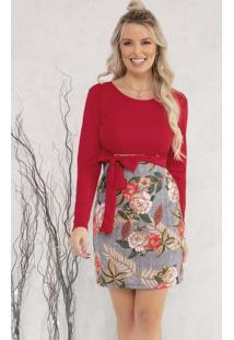Vestido Com Faixa Fixa Floral Vermelho