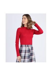 Blusa Feminina Básica Em Tricô Manga Longa Vermelha