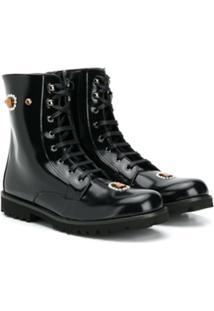 Dolce & Gabbana Kids Ankle Boot Com Aplicação - Preto
