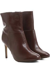 Bota Couro Shoestock Cano Curto Amendoada Feminina - Feminino-Vinho