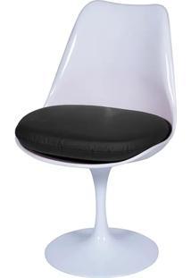 Cadeira Saarinen Tulipa Branca Assento Preto