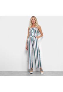 Macacão Lily Fashion Listrado Amarração Feminino - Feminino-Verde