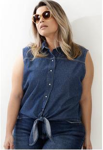Camisa Feminina Jeans Amarração Sem Manga Marisa