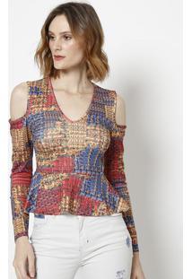 Blusa Abstrata Com Recortes- Azul & Vermelha- Tritontriton
