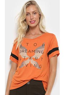 Camiseta Morena Rosa Start Living Feminina - Feminino-Laranja