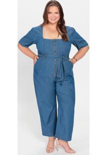 Macacão Plus Size Jeans Claro Com Botões