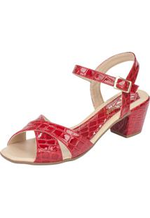 Sandália Lu Fashion Salto Grosso Croco Vermelho