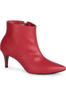 Ankle Boots Feminina Lara Bico Fino Vermelho