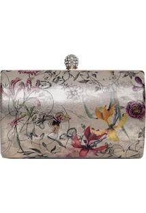Clutch Floral Metalizado