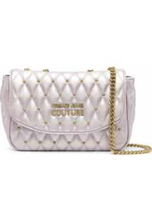 Versace Jeans Couture Metallic-Tone Logo-Plaque Shoulder Bag - Roxo