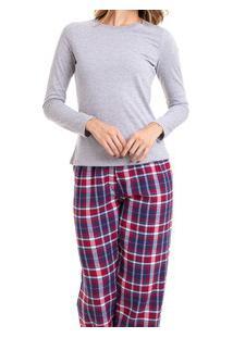Pijama Longo Feminino Mescla Xadrez Flanelado (923/Ls223) 100% Algodão