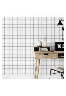 Papel De Parede Branco Geométrico Quadriculado Grid 57X270Cm