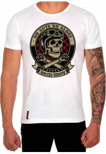 Camiseta Lucas Lunny T Shirt Estampada Caveira Motoqueiro Branco