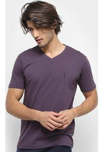Camiseta Aleatory Bordado Masculina - Masculino-Roxo