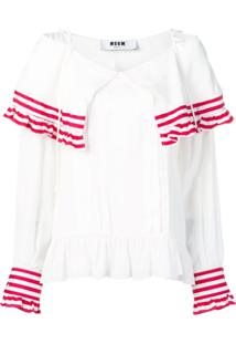 Msgm Striped Frill Blouse - Branco