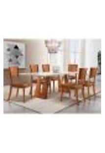 Conjunto De Mesa De Jantar Com 6 Cadeiras Escócia Corino Off White E Caramelo 180 Cm