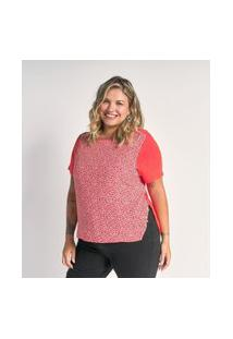 Blusa Floral Com Costas De Malha Curve E Plus Size Rosa