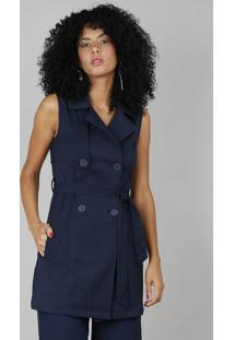 Colete Feminino Longo De Sarja Gola Tailleur Azul Marinho