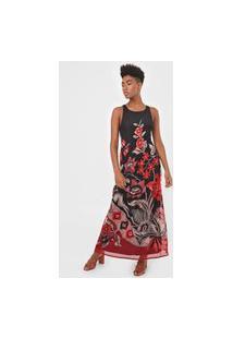 Vestido Desigual Longo Londres Preto/Vermelho