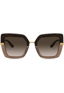 Dolce & Gabbana Eyewear Óculos De Sol Oversized Com Estampa - Marrom