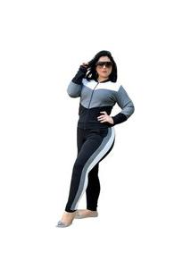Conjunto Agasalho Summer Body Plus Size Malha Crepe Com Zíper Cinza