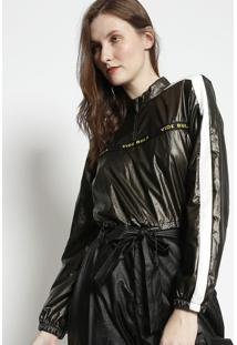 Blusa Cropped Com Recortes- Marrom Escuro & Branca- Vide Bula