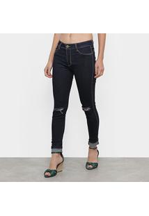 Calça Jeans Cigarrete Sawary Push Up Feminina - Feminino-Azul
