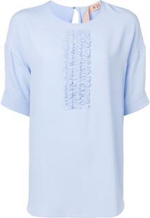 Nº21 Blusa Com Detalhe Franzido - Azul