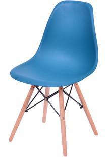 Cadeira Eames Polipropileno Azul Petroleo Base Madeira - 43039 - Sun House