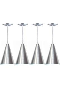 Kit 04 Luminárias Pendente Cone Em Alumínio Escovado
