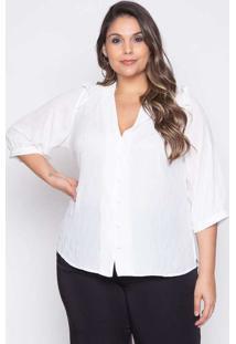 Blusa Almaria Plus Size Pianeta Crepe Foil Branco
