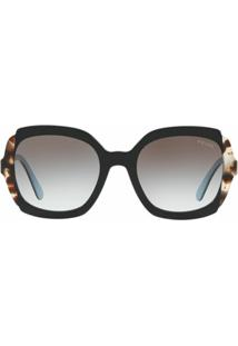 Prada Eyewear Oversized Frame Sunglasses - Preto